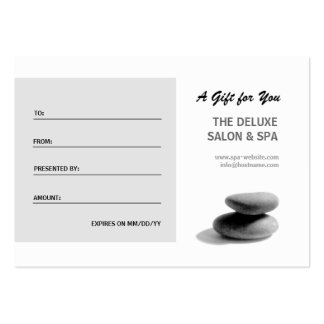 Spa Stones Gift Certificate Business Card
