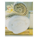 Spa towels and tropical flower poster