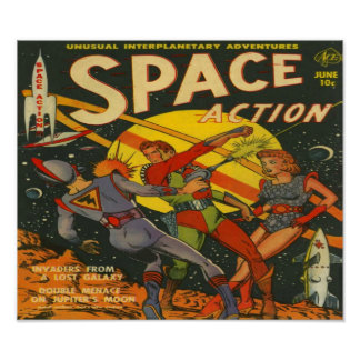 Space Action Comic Book Poster
