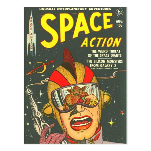 Vintage Comic Book Cover Art : Space action cool vintage comic book cover art postcard