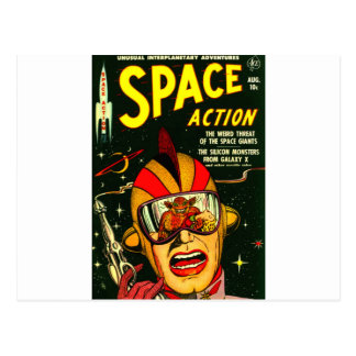 Space Action: Eek!  A Monster! Postcard