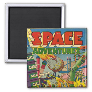 Space Adventurers Comic Book Square Magnet