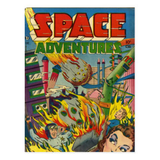 Space Adventurers Comic Book Postcard