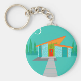 Space Age Cartoon Button Keychain
