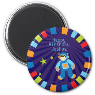 Space Age Happy Birthday Magnet