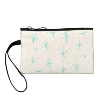 Space Age Turquoise Starbursts Key Coin Clutch