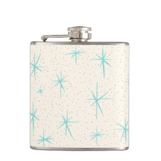 Space Age Turquoise Starbursts Wrapped Flask