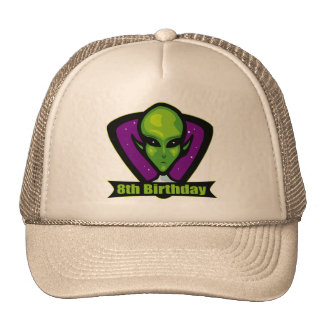 Space Alien 8th Birthday Gifts Cap