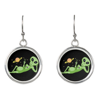 Space Alien Giving Peace Sign Hanging Earrings