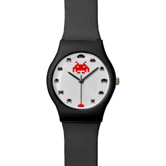 Space Alien Invader Watch - Black/Red Face