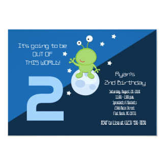 Space Alien Outerspace 5x7 Birthday Invitation