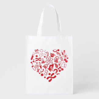 Space And Science Heart Reusable Grocery Bag