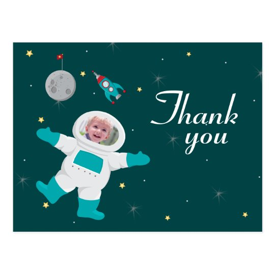 Space astronaut birthday photo thank you postcard