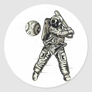 Space Baseball Classic Round Sticker