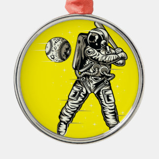 Space Baseball Metal Ornament
