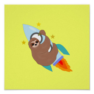 Space Bound Sloth Poster