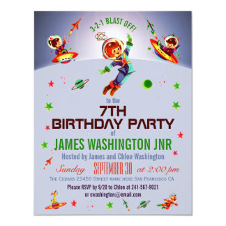Space Boy's 7th Birthday Party 11 Cm X 14 Cm Invitation Card