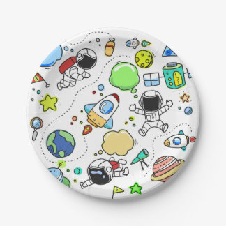 Space Boy's Birthday Party Paper Plate
