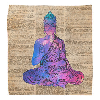 Space Buddha Vintage Dictionary Art Bandana