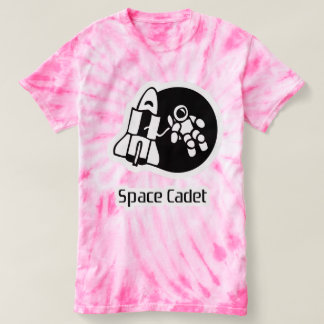 Space Cadet Motif Pink Tie Dyed Tee Shirt