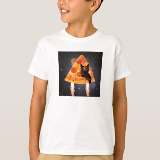 Space Cat in a Pizza Rocket T-Shirt