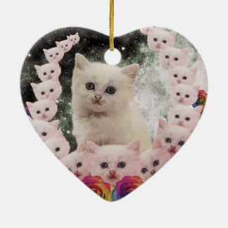 space cat in flowers ceramic heart decoration