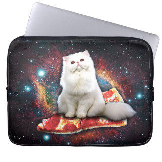 Space cat pizza computer sleeves