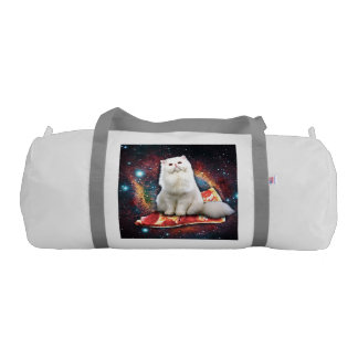 Space cat pizza gym duffel bag