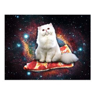 Space cat pizza postcard