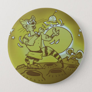 space cat playing with ufo funny cartoon 10 cm round badge