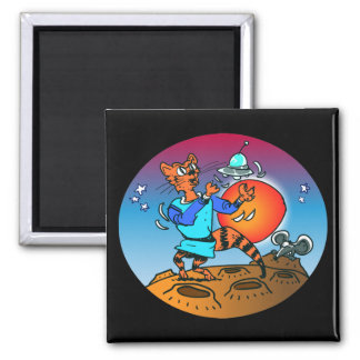 space cat playing with ufo funny cartoon magnet