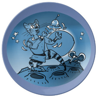 space cat playing with ufo funny cartoon plate