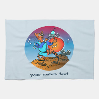 space cat playing with ufo funny cartoon tea towel