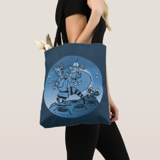 space cat playing with ufo funny cartoon tote bag