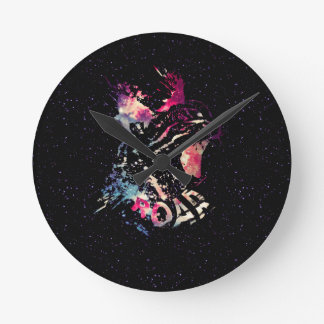 Space Cat Portrait Round Clock