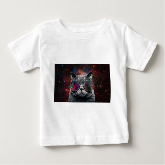 Space Cat Wearing Goggles in Front of the Galaxy Baby T-Shirt
