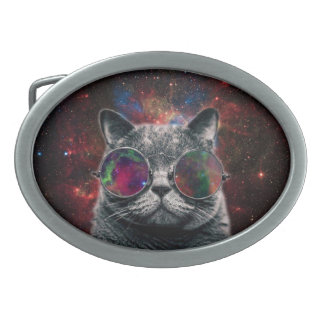 Space Cat Wearing Goggles in Front of the Galaxy Belt Buckle