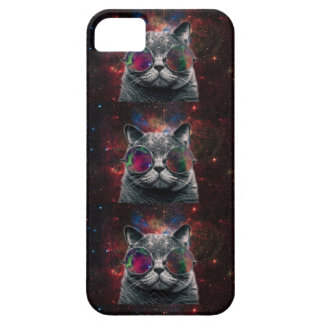 Space Cat Wearing Goggles in Front of the Galaxy Case For The iPhone 5