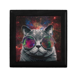 Space Cat Wearing Goggles in Front of the Galaxy Gift Box