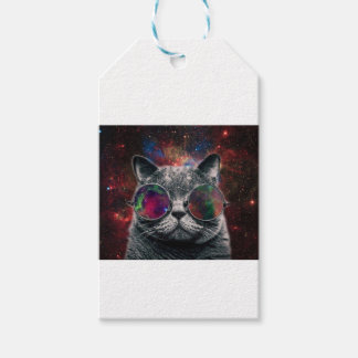 Space Cat Wearing Goggles in Front of the Galaxy Gift Tags
