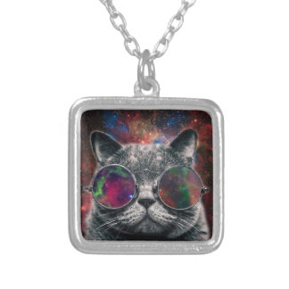 Space Cat Wearing Goggles in Front of the Galaxy Silver Plated Necklace