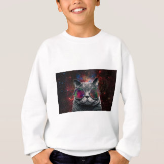 Space Cat Wearing Goggles in Front of the Galaxy Sweatshirt