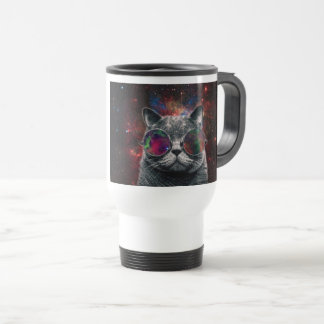 Space Cat Wearing Goggles in Front of the Galaxy Travel Mug