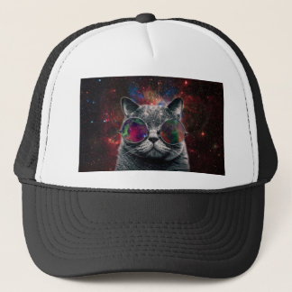 Space Cat Wearing Goggles in Front of the Galaxy Trucker Hat