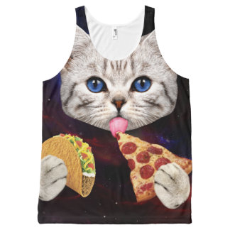 Space Cat with taco and pizza All-Over Print Singlet