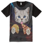 Space Cat with taco and pizza All-Over Print T-Shirt