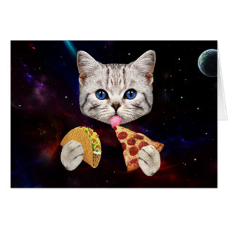 Space Cat with taco and pizza Card