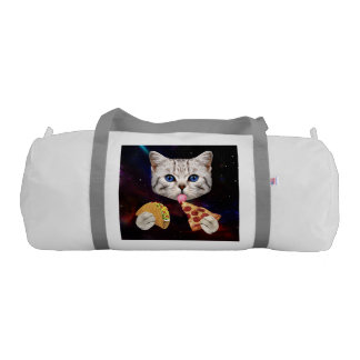 Space Cat with taco and pizza Gym Duffel Bag