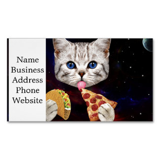 Space Cat with taco and pizza Magnetic Business Card