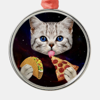 Space Cat with taco and pizza Metal Ornament